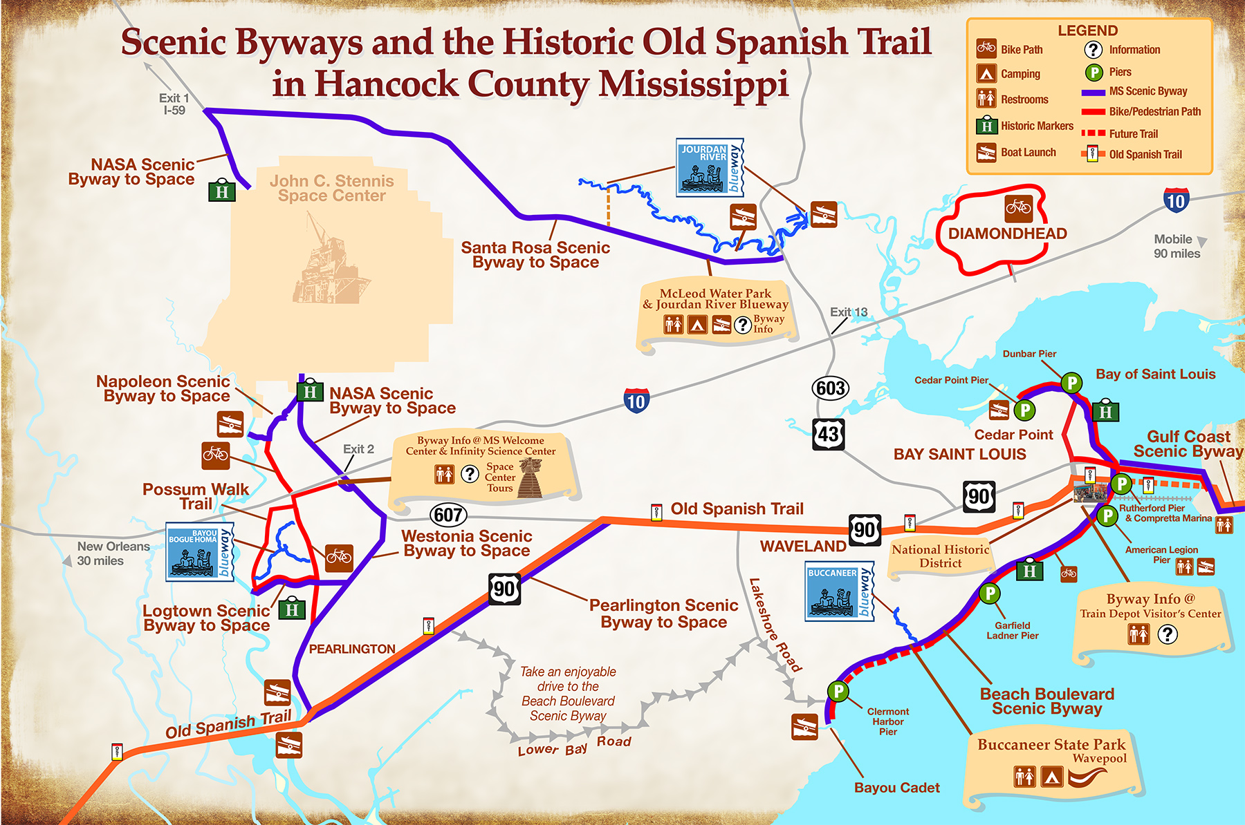 hancock county scenic byways - map scenic gulf trails outdoors